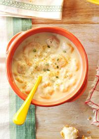 Сырный суп-пюре с креветками