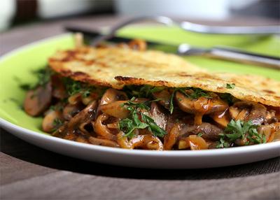 Омлет с капустой и грибами-шампиньонами