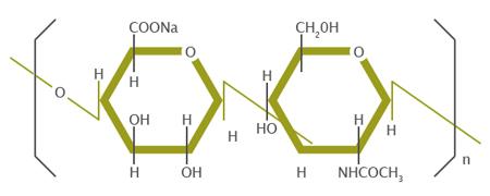 Структурная формула фрагмента гиалуроновой кислоты
