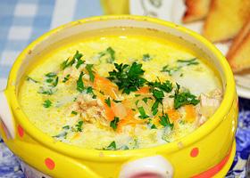 Суп-пюре с рисом, курицей и морковью