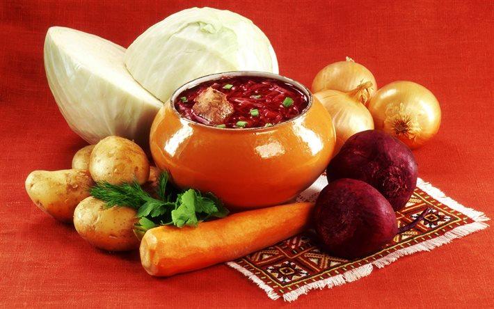Луковый суп со свеклой
