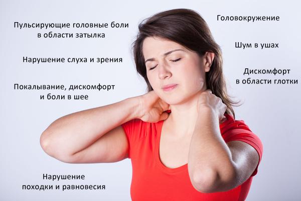 Основные симптомы синдрома позвоночной артерии