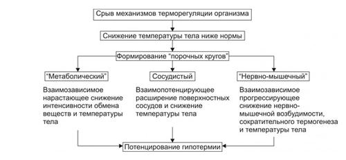 Схема развития гипотермии